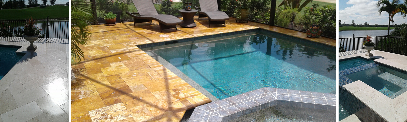 Travertine we cleaned by a pool